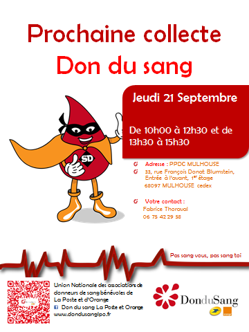Affiche collecte don du sang ppdc mulhouse le 21 09 2017